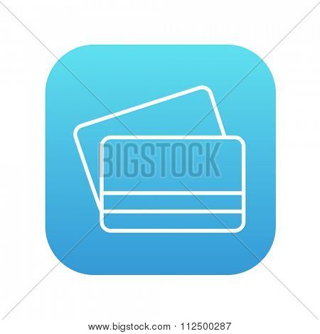 Credit cards line icon for web, mobile and infographics. Vector white icon on the blue gradient square with rounded corners isolated on white background.