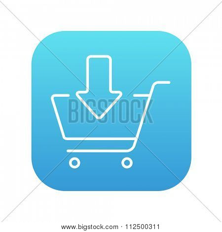 Shopping cart with down directed arrow line icon for web, mobile and infographics. Vector white icon on the blue gradient square with rounded corners isolated on white background.