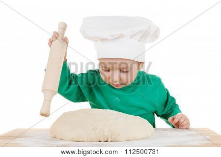 Little Little Boy Kneading Dough For The Cookies, Isolated On White