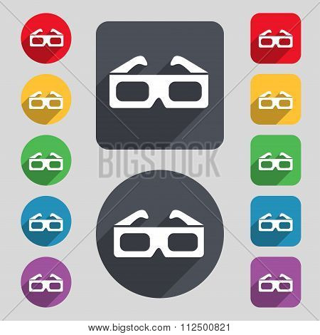 3D Glasses Icon Sign. A Set Of 12 Colored Buttons And A Long Shadow. Flat Design.