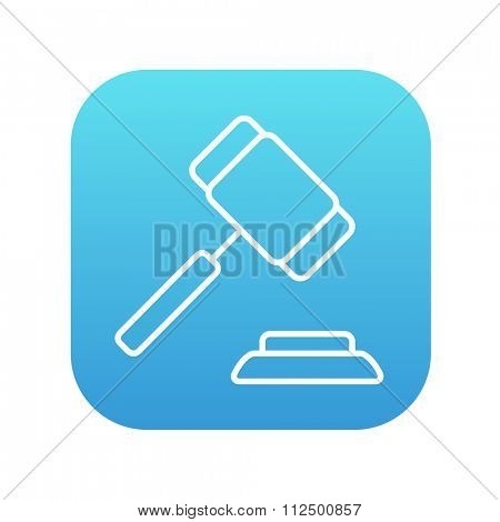Auction gavel line icon for web, mobile and infographics. Vector white icon on the blue gradient square with rounded corners isolated on white background.