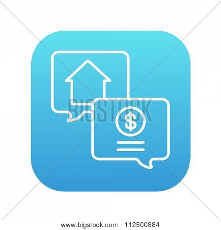 Real estate transaction line icon for web, mobile and infographics. Vector white icon on the blue gradient square with rounded corners isolated on white background.