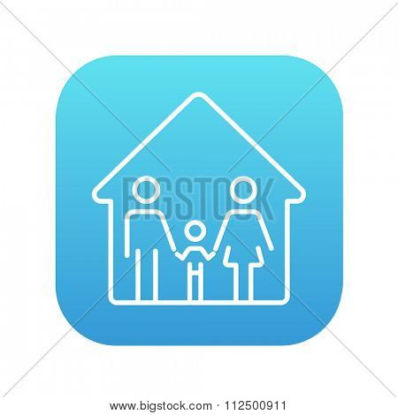 Family house line icon for web, mobile and infographics. Vector white icon on the blue gradient square with rounded corners isolated on white background.