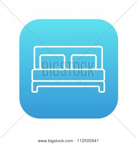 Double bed line icon for web, mobile and infographics. Vector white icon on the blue gradient square with rounded corners isolated on white background.
