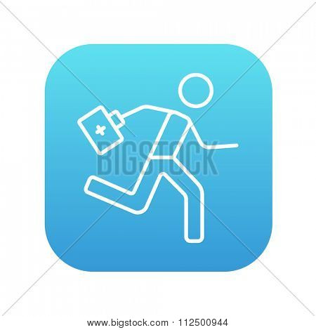 Paramedic running with first aid kit line icon for web, mobile and infographics. Vector white icon on the blue gradient square with rounded corners isolated on white background.