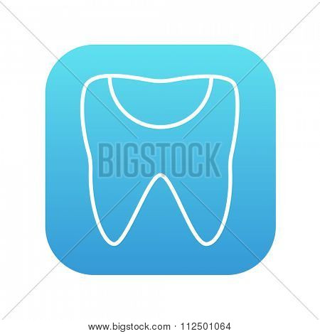 Tooth decay line icon for web, mobile and infographics. Vector white icon on the blue gradient square with rounded corners isolated on white background.