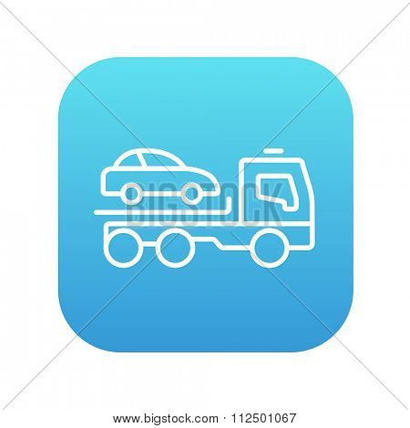Car towing truck line icon for web, mobile and infographics. Vector white icon on the blue gradient square with rounded corners isolated on white background.
