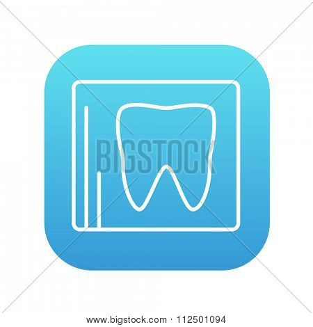 X-ray of the tooth line icon for web, mobile and infographics. Vector white icon on the blue gradient square with rounded corners isolated on white background.