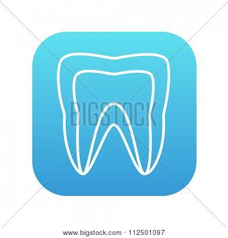 Molar tooth line icon for web, mobile and infographics. Vector white icon on the blue gradient square with rounded corners isolated on white background.