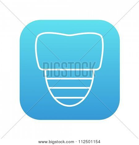 Tooth implant line icon for web, mobile and infographics. Vector white icon on the blue gradient square with rounded corners isolated on white background.
