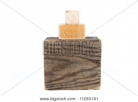Three wooden blocks