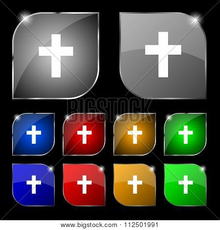 Religious Cross, Christian Icon Sign. Set Of Ten Colorful Buttons With Glare.