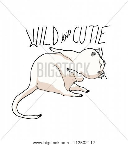 wild and cutie cat illustration