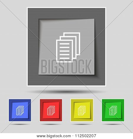 Copy File, Duplicate Document Icon Sign On Original Five Colored Buttons.