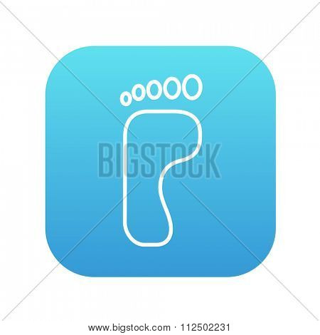 Footprint line icon for web, mobile and infographics. Vector white icon on the blue gradient square with rounded corners isolated on white background.