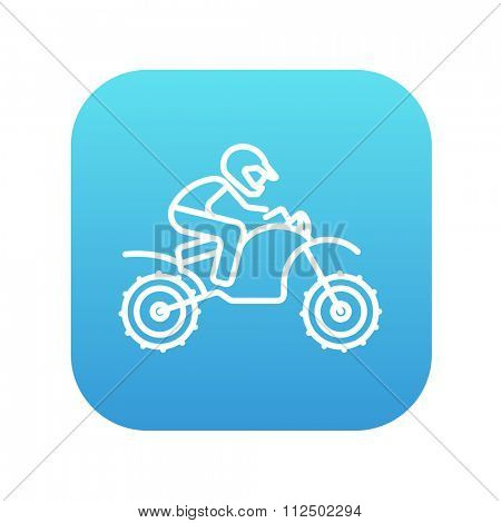 Man riding a motocross bike line icon for web, mobile and infographics. Vector white icon on the blue gradient square with rounded corners isolated on white background.