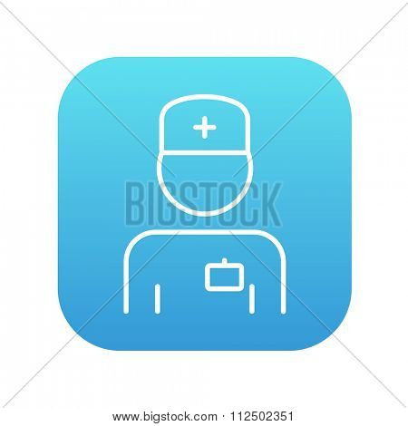 Nurse line icon for web, mobile and infographics. Vector white icon on the blue gradient square with rounded corners isolated on white background.