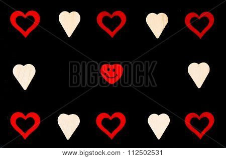Heart Shapes Symbols And Smiling Emoticon Isolated On Black, Available Copy Space, Love Concept
