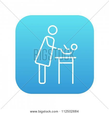 Mother taking care of the baby line icon for web, mobile and infographics. Vector white icon on the blue gradient square with rounded corners isolated on white background.