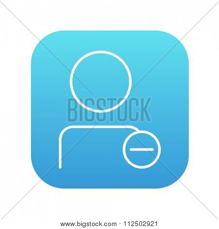 User profile with minus sign line icon for web, mobile and infographics. Vector white icon on the blue gradient square with rounded corners isolated on white background.