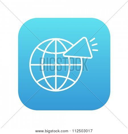 Globe with loudspeaker line icon for web, mobile and infographics. Vector white icon on the blue gradient square with rounded corners isolated on white background.