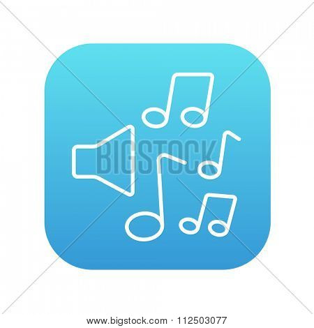 Loudspeakers with music notes line icon for web, mobile and infographics. Vector white icon on the blue gradient square with rounded corners isolated on white background.