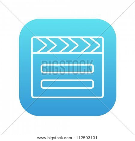 Clapboard line icon for web, mobile and infographics. Vector white icon on the blue gradient square with rounded corners isolated on white background.