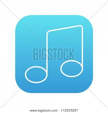 Music note line icon for web, mobile and infographics. Vector white icon on the blue gradient square with rounded corners isolated on white background.