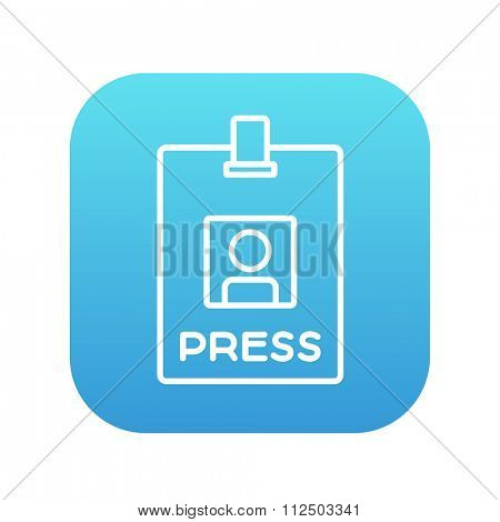 Press pass ID card line icon for web, mobile and infographics. Vector white icon on the blue gradient square with rounded corners isolated on white background.