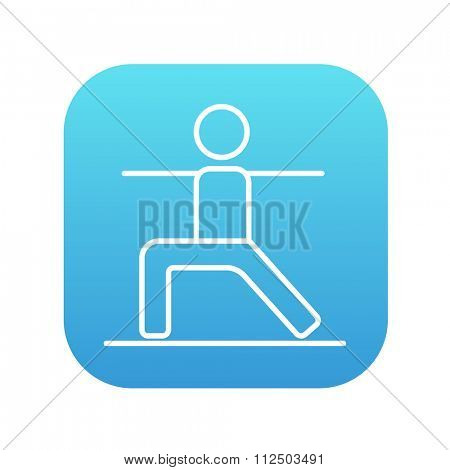 Man in the virabhadrasana II pose line icon for web, mobile and infographics. Vector white icon on the blue gradient square with rounded corners isolated on white background.