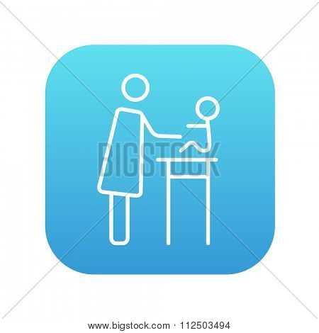 Woman taking care of the baby line icon for web, mobile and infographics. Vector white icon on the blue gradient square with rounded corners isolated on white background.