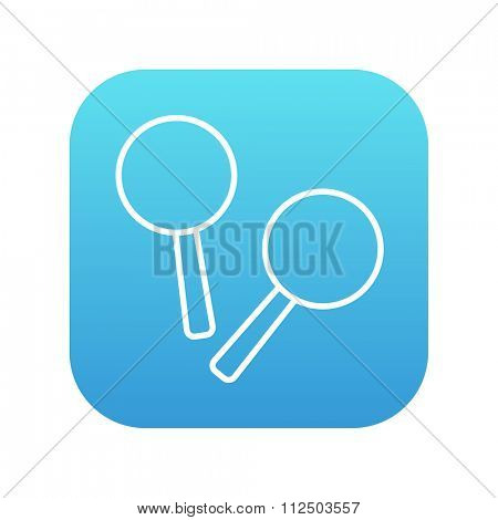 Maracas line icon for web, mobile and infographics. Vector white icon on the blue gradient square with rounded corners isolated on white background.