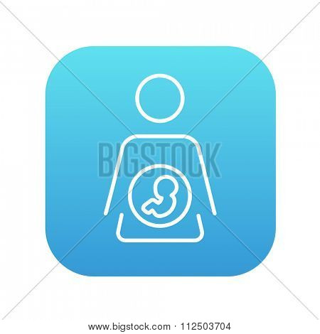 Baby fetus in mother womb line icon for web, mobile and infographics. Vector white icon on the blue gradient square with rounded corners isolated on white background.