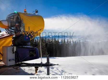 Snow making machine at a ski resort