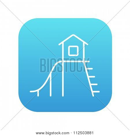 Playhouse with slide line icon for web, mobile and infographics. Vector white icon on the blue gradient square with rounded corners isolated on white background.