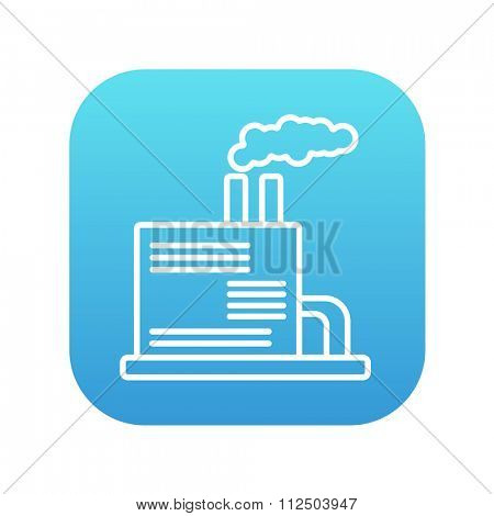 Refinery plant line icon for web, mobile and infographics. Vector white icon on the blue gradient square with rounded corners isolated on white background.