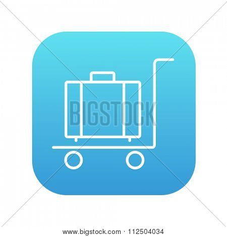 Luggage on a trolley line icon for web, mobile and infographics. Vector white icon on the blue gradient square with rounded corners isolated on white background.