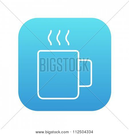 Mug of hot drink line icon for web, mobile and infographics. Vector white icon on the blue gradient square with rounded corners isolated on white background.