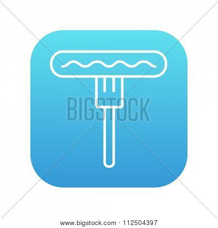 Sausage on the fork line icon for web, mobile and infographics. Vector white icon on the blue gradient square with rounded corners isolated on white background.
