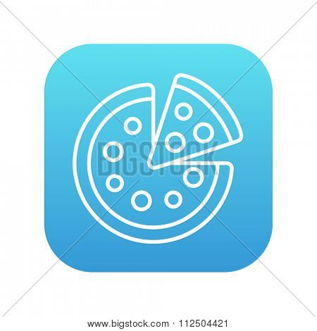 Whole pizza with a slice line icon for web, mobile and infographics. Vector white icon on the blue gradient square with rounded corners isolated on white background.