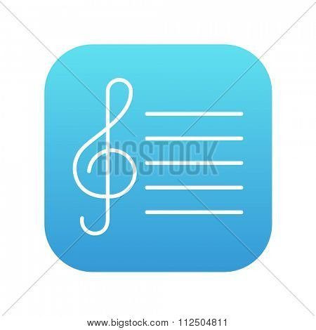 Treble clef line icon for web, mobile and infographics. Vector white icon on the blue gradient square with rounded corners isolated on white background.