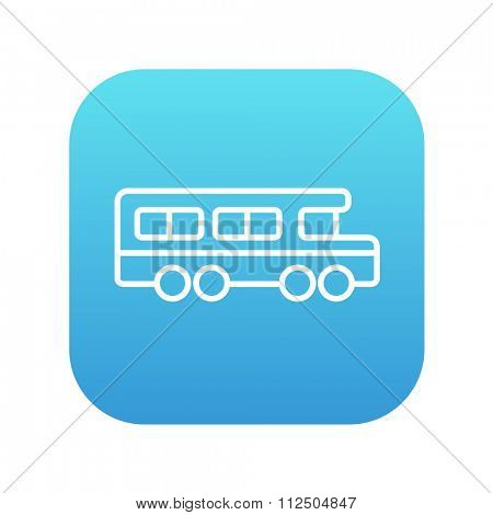 School bus line icon for web, mobile and infographics. Vector white icon on the blue gradient square with rounded corners isolated on white background.