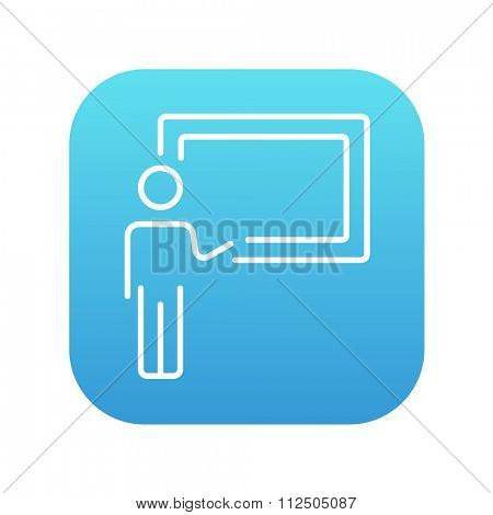 Professor pointing at blackboard line icon for web, mobile and infographics. Vector white icon on the blue gradient square with rounded corners isolated on white background.