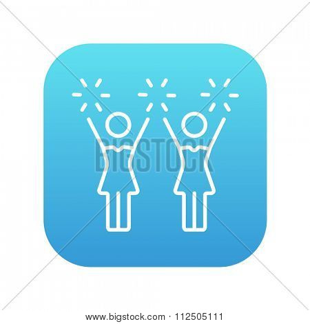 Cheerleaders line icon for web, mobile and infographics. Vector white icon on the blue gradient square with rounded corners isolated on white background.