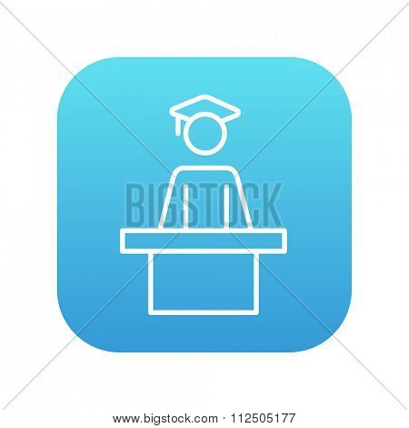 Graduate standing near tribune line icon for web, mobile and infographics. Vector white icon on the blue gradient square with rounded corners isolated on white background.