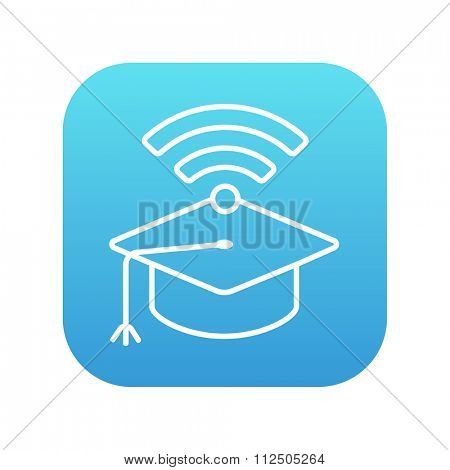 Graduation cap with wi-fi sign line icon for web, mobile and infographics. Vector white icon on the blue gradient square with rounded corners isolated on white background.