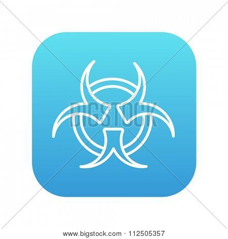 Bio hazard sign line icon for web, mobile and infographics. Vector white icon on the blue gradient square with rounded corners isolated on white background.