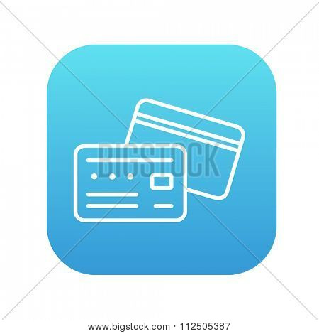 Credit card line icon for web, mobile and infographics. Vector white icon on the blue gradient square with rounded corners isolated on white background.