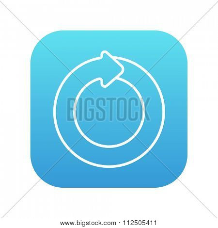 Circular arrow line icon for web, mobile and infographics. Vector white icon on the blue gradient square with rounded corners isolated on white background.