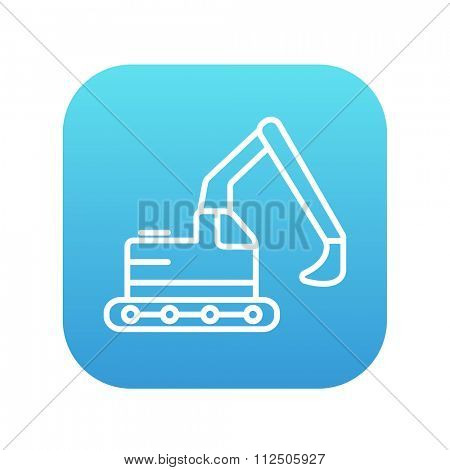 Excavator line icon for web, mobile and infographics. Vector white icon on the blue gradient square with rounded corners isolated on white background.
